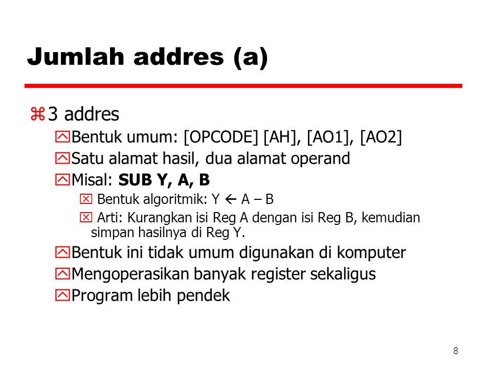 Jumlah addres (a) 3 addres Bentuk umum: [OPCODE] [AH], [AO1], [AO2]